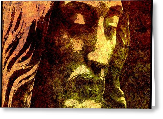 Modern Art Greeting Cards - Man of Sorrows Greeting Card by Mike Grubb