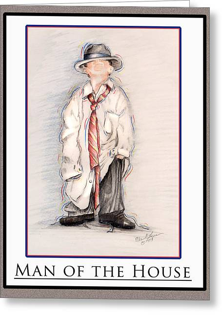 Father Pastels Greeting Cards - Man Of The House Greeting Card by Ellen Lyner