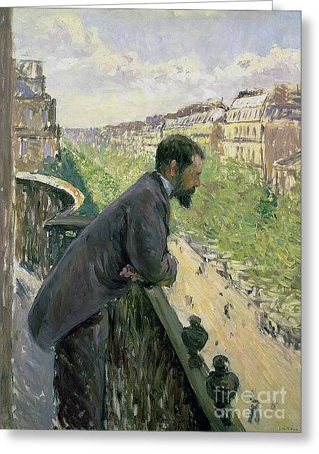 Man Looking Down Greeting Cards - Man on a Balcony Greeting Card by Gustave Caillebotte