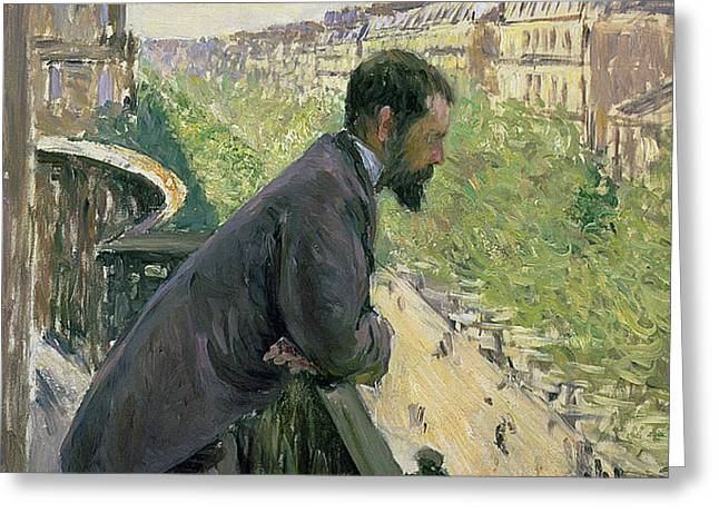 Man on a Balcony Greeting Card by Gustave Caillebotte