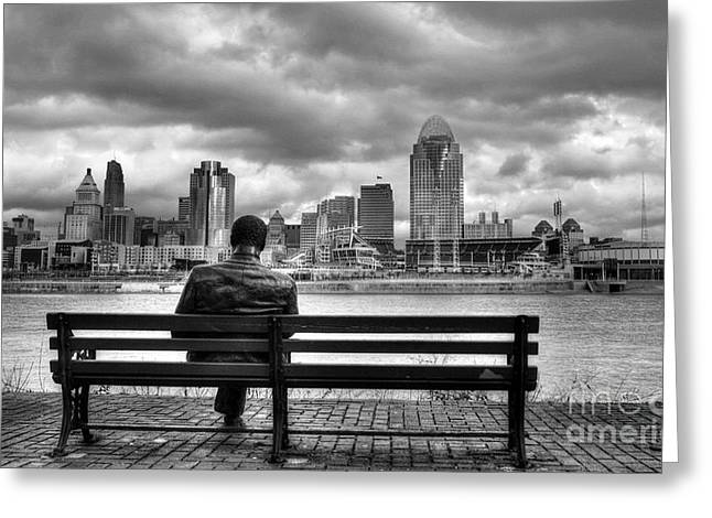 White On Black Greeting Cards - Man On A Bench Greeting Card by Mel Steinhauer