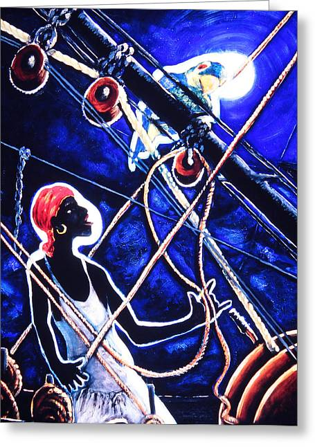 Sea Moon Full Moon Greeting Cards - Man on a Boat Greeting Card by David Larcade