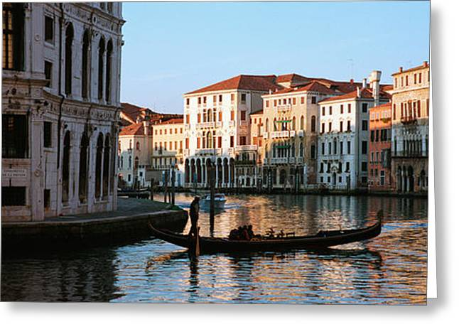Gondolier Photographs Greeting Cards - Man On A Gondola In A Canal, Grand Greeting Card by Panoramic Images