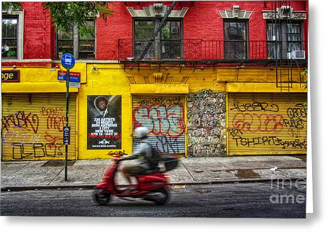 New York City Graffiti Greeting Cards - Man on a Moped passing by the Red and Yellow Buiding Greeting Card by Nishanth Gopinathan