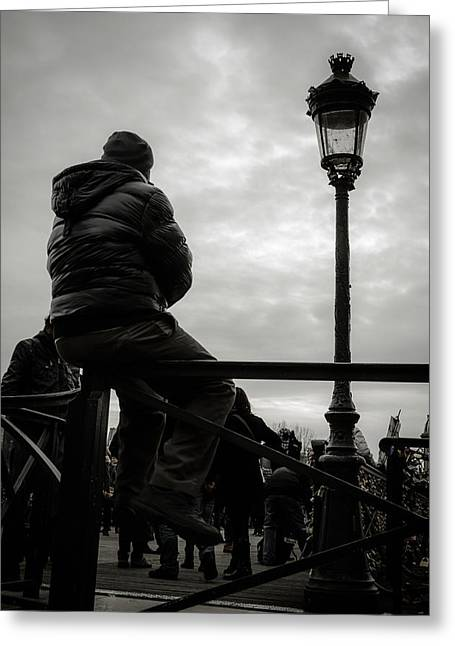 Sky Lovers Art Greeting Cards - Man On A Parisian Bridge Greeting Card by Marco Oliveira