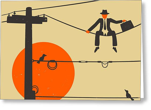 Abstract Minimalism Greeting Cards - Man On A Wire Greeting Card by Jazzberry Blue