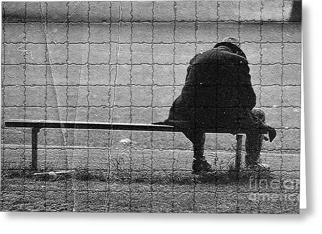 Third Estate Greeting Cards - Man On Bench Greeting Card by Graham Foulkes
