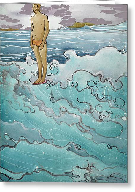 Recently Sold -  - Surfing Art Greeting Cards - Man on Edge Greeting Card by Harry Holiday