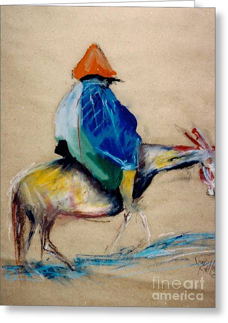 Print On Acrylic Pastels Greeting Cards - Man on horse Greeting Card by Jon Kittleson