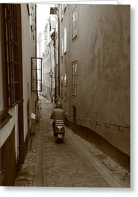 Buildings And Narrow Lanes Greeting Cards - Man on motor scooter in a narrow alley - monochrome Greeting Card by Intensivelight