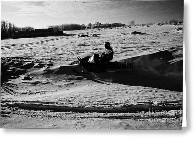 Harsh Conditions Greeting Cards - man on snowmobile crossing frozen fields in rural Forget Saskatchewan Canada Greeting Card by Joe Fox
