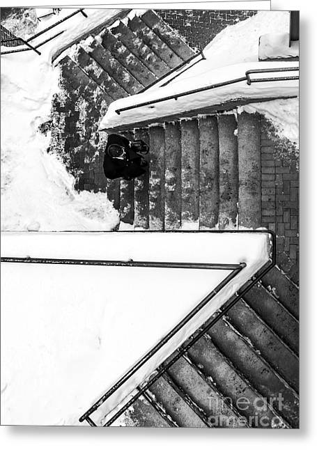Decent Greeting Cards - Man on staircase Concord New Hampshire 2015 Greeting Card by Edward Fielding