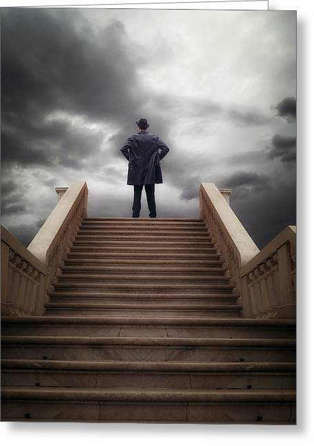 Man Greeting Cards - Man On Stairs Greeting Card by Joana Kruse