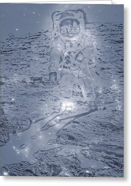 Moon Neil Armstrong Greeting Cards - Man On The Moon Greeting Card by Dan Sproul