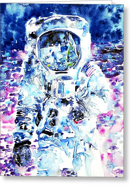 First Man Moon Greeting Cards - MAN on the MOON - watercolor portrait Greeting Card by Fabrizio Cassetta