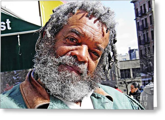 Washington Heights Greeting Cards - Man on the Street Greeting Card by Sarah Loft