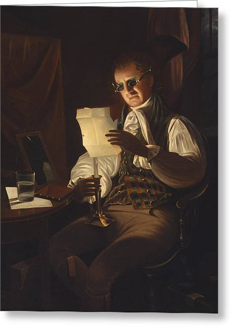 Interior Still Life Paintings Greeting Cards - Man Reading by Candlelight Greeting Card by Rembrandt Peale