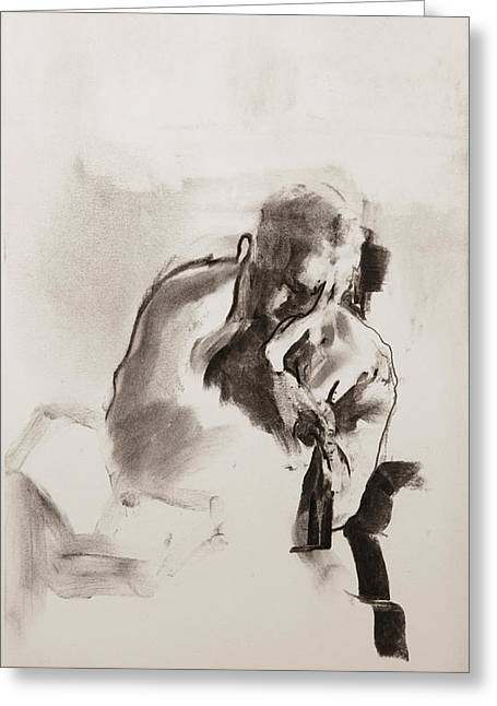Gray Pastels Greeting Cards - Man reading Greeting Card by Janet Goddard