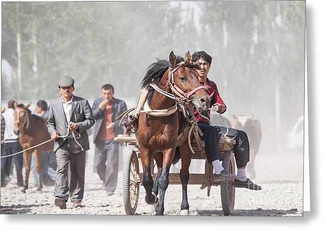 Ethnical Greeting Cards - Man riding a carriage at Kashgar sunday market China Greeting Card by Matteo Colombo