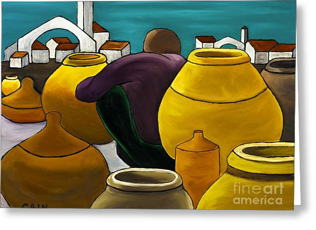William Cain Greeting Cards - Man Selling Pots Greeting Card by William Cain