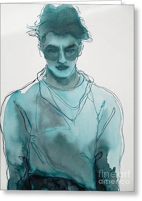 Menswear Greeting Cards - Man Silver Blue Greeting Card by Richard Vyse