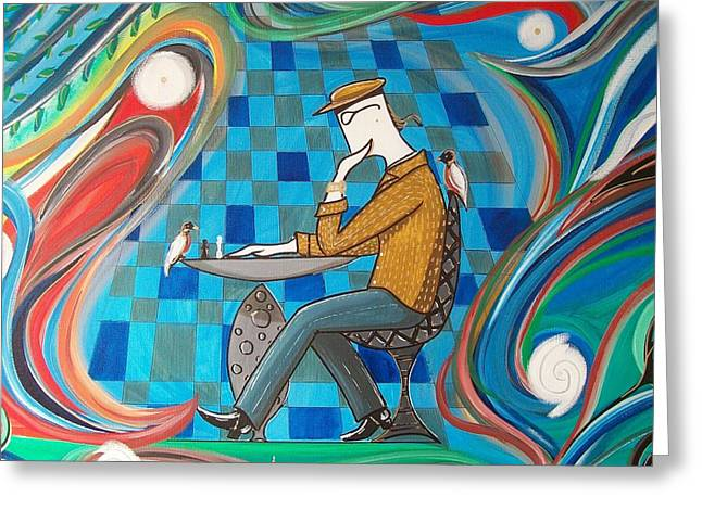 Man Sitting In Chair Contemplating Chess With A Bird Greeting Card by John Lyes