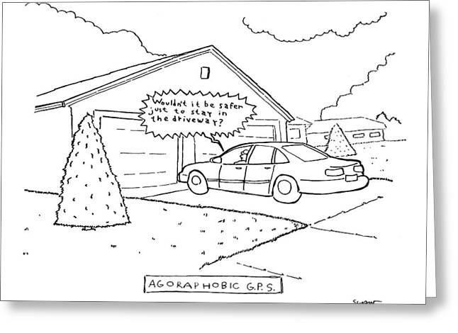 Man Sitting In His Car In The Driveway Greeting Card by Michael Shaw