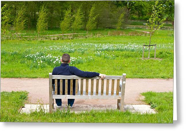 Human Image Greeting Cards - Man Sitting On A Bench In A Countryside Scene Greeting Card by Fizzy Image