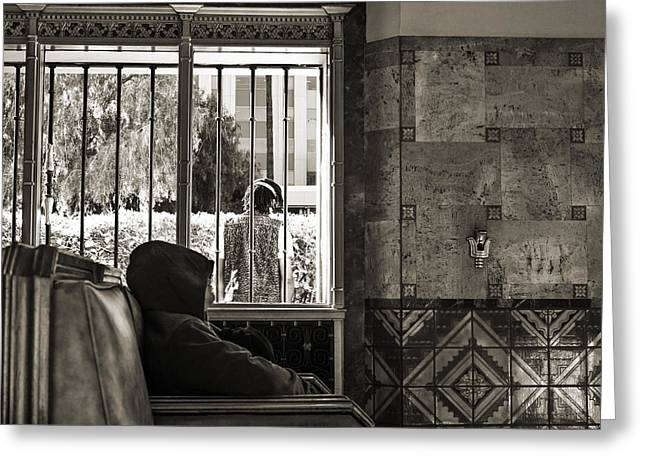 Man Sleeping Inside And Person Standing Outside Union Station Lo Greeting Card by Kim M Smith