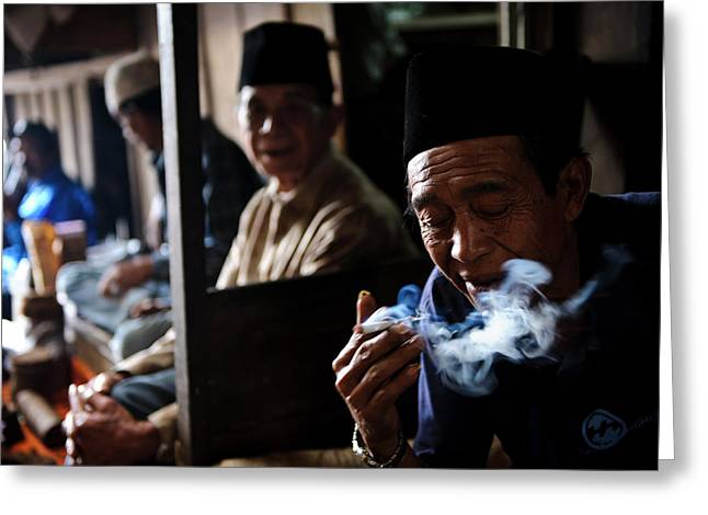 Man Smoking Greeting Card by Matthew Oldfield