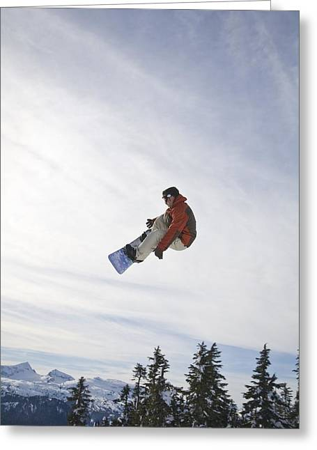 Ski Jumping Greeting Cards - Man Snowboarding, Jumping In Mid-air Greeting Card by Stuart Westmorland