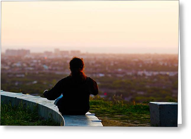 Looking At View Greeting Cards - Man Sting On The Ledge In Baldwin Hills Greeting Card by Panoramic Images