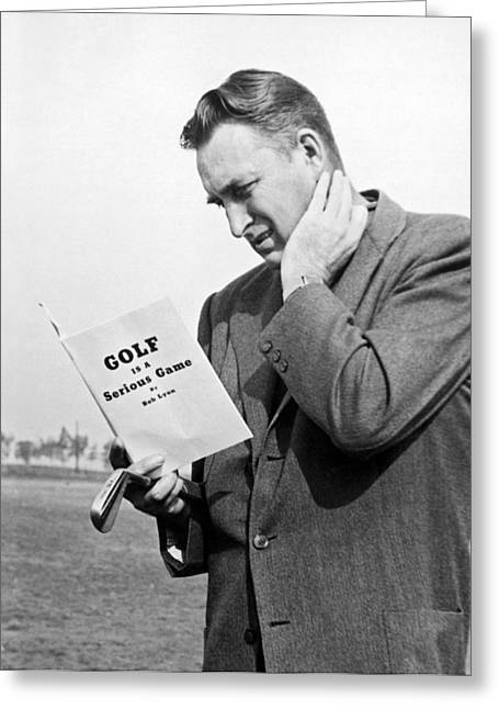 Man Studying A Golf Book Greeting Card by Underwood Archives