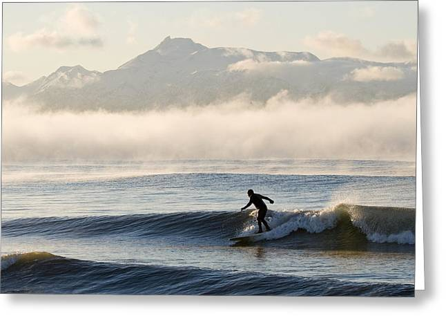 Exciting Surf Greeting Cards - Man Surfing In Moring Near Homer Greeting Card by Scott Dickerson