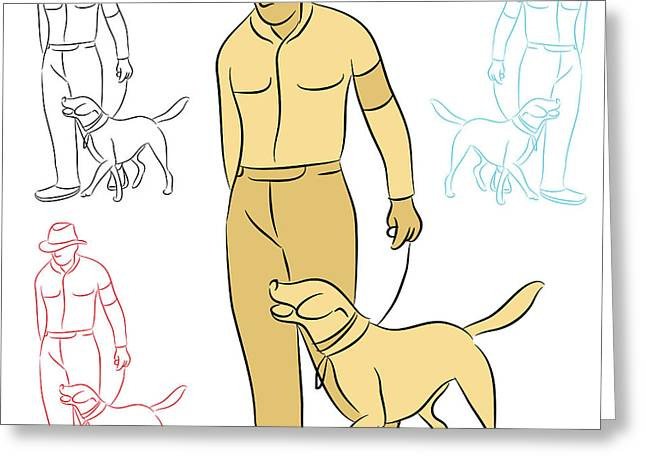 Black Labrador Retreiver Greeting Cards - Man Training His Dog Greeting Card by John Takai