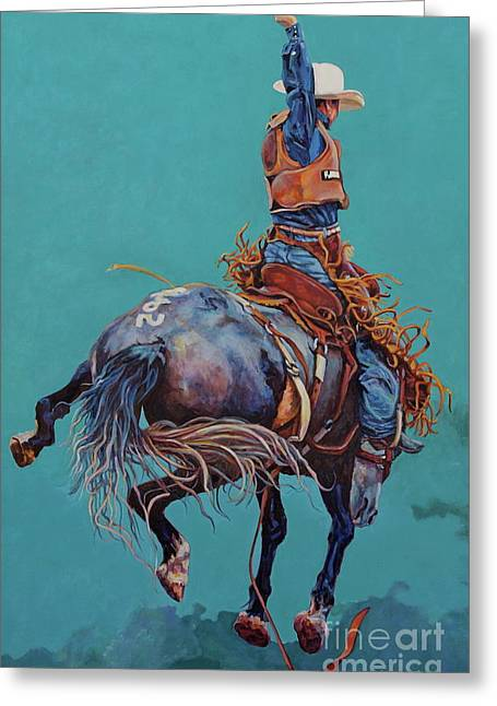 Rodeo Art Greeting Cards - Man Up Greeting Card by Patricia A Griffin
