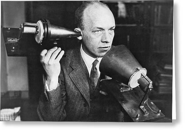 Man Using First Telephone Greeting Card by Underwood & Underwood