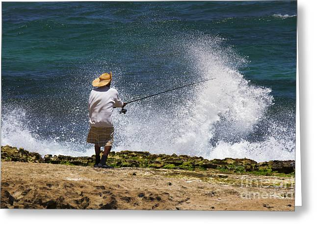 Fishermen Greeting Cards - Man versus the Sea Greeting Card by Mike  Dawson