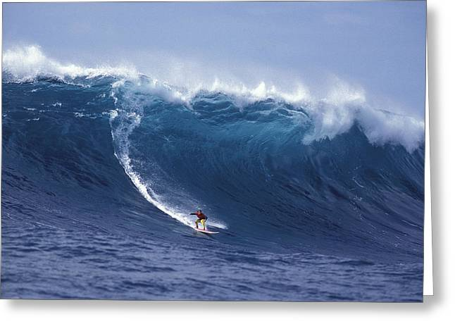 Surfing Photos Greeting Cards - Man Vs Mountain Greeting Card by Sean Davey