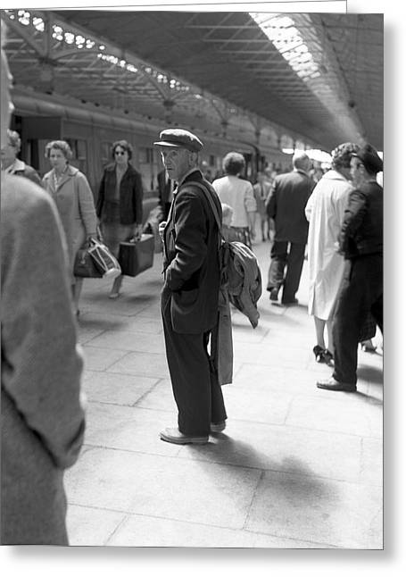 Knightsbridge Greeting Cards - Man waits in Heuston Station Dublin Greeting Card by Irish Photo Archive