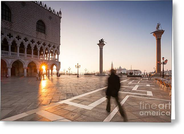 Colombos Greeting Cards - Man walking near Doges palace in Venice Greeting Card by Matteo Colombo