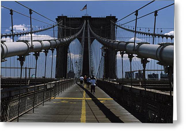 In-city Greeting Cards - Man Walking On A Bridge, Brooklyn Greeting Card by Panoramic Images
