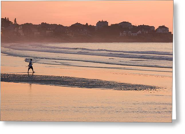 On The Beach Greeting Cards - Man Walking On The Beach, Good Harbor Greeting Card by Panoramic Images
