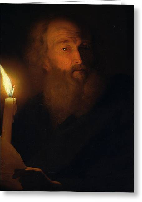 Candle Lit Paintings Greeting Cards - Man with a Candle Greeting Card by Godfried Schalken
