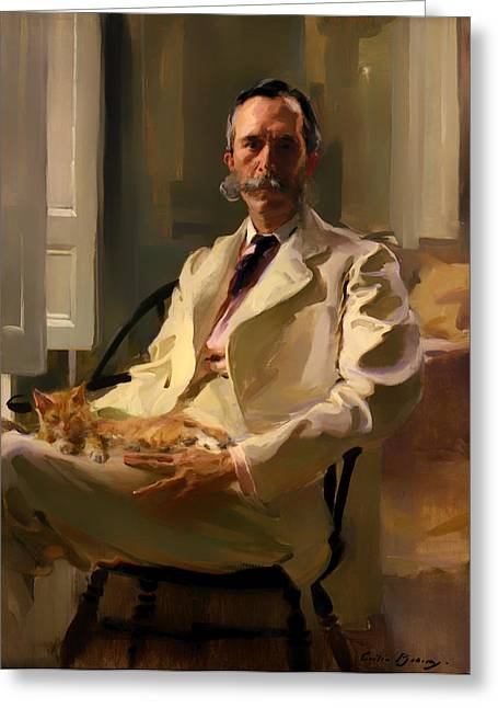 Mustache Greeting Cards - Man with a Cat Greeting Card by Celcilla Beaux