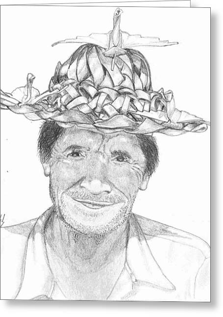 Straw Hat Drawings Greeting Cards - Man With a Hat Greeting Card by Lew Davis