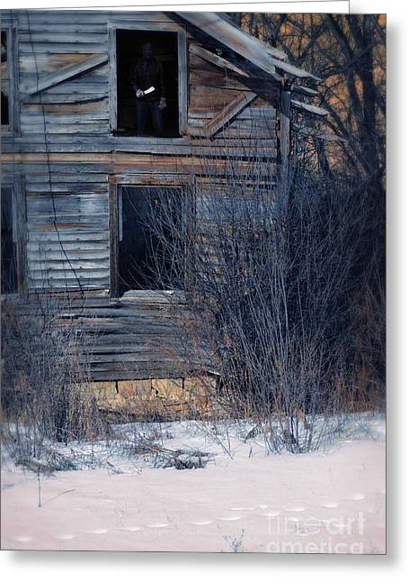 Clapboard House Greeting Cards - Man with a Knife in Dilapidated House Greeting Card by Jill Battaglia