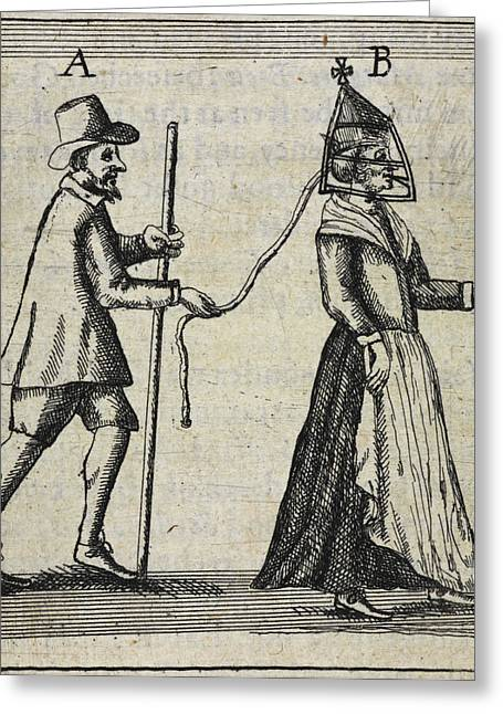 Man With A Woman On A Lead Greeting Card by British Library