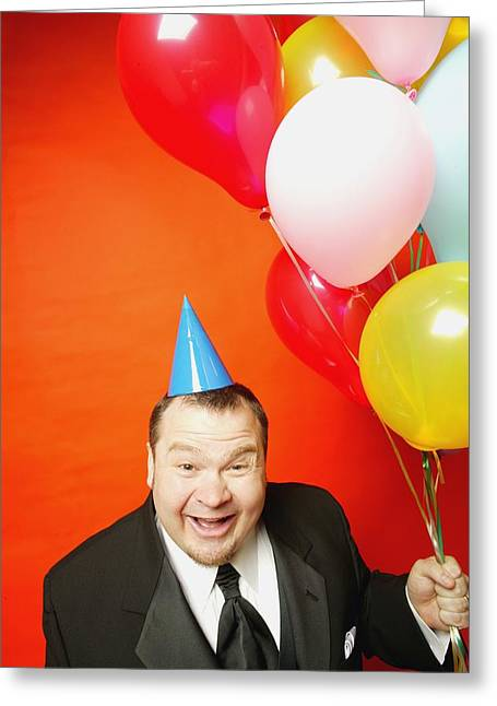 Absurd Surreal Greeting Cards - Man With Balloons Greeting Card by Darren Greenwood