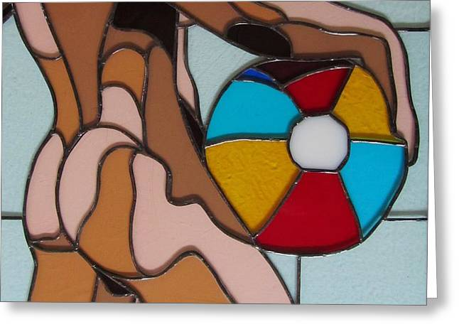 Nude Glass Greeting Cards - Man with Beach Ball Greeting Card by Jeffrey Todd Moore